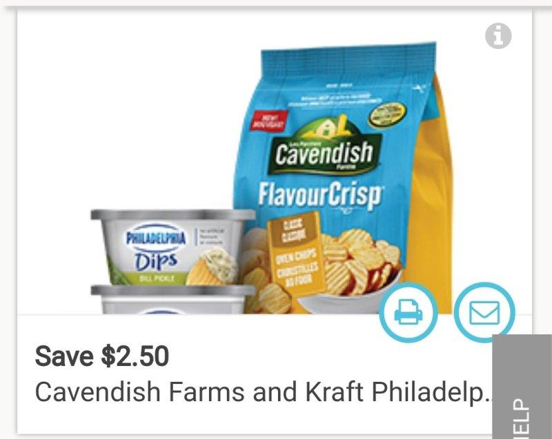 coupon rabais Cavendish Farms And Kraft Philadelphia Dips