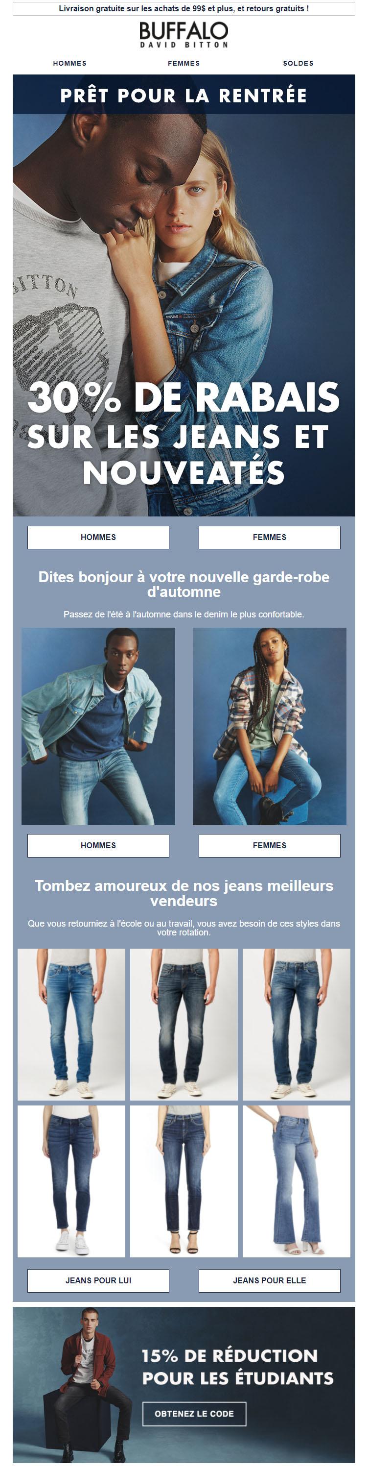 30% De Rabais Sur Les Jeans Et Les Nouveautés