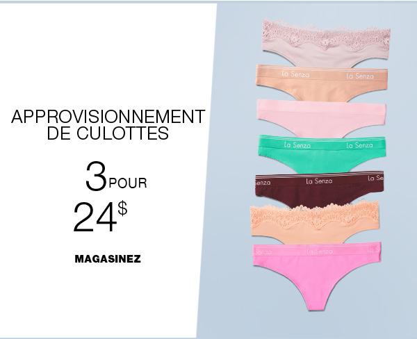Culottes En Coton 3 Pour 24 $
