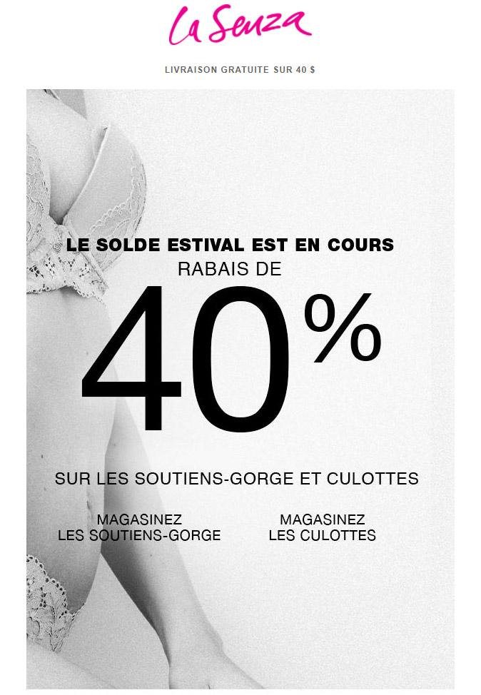 Le Solde Que Vous Attendiez   Rabais De 40 % Sur Les Soutiens Gorge Et Culottes