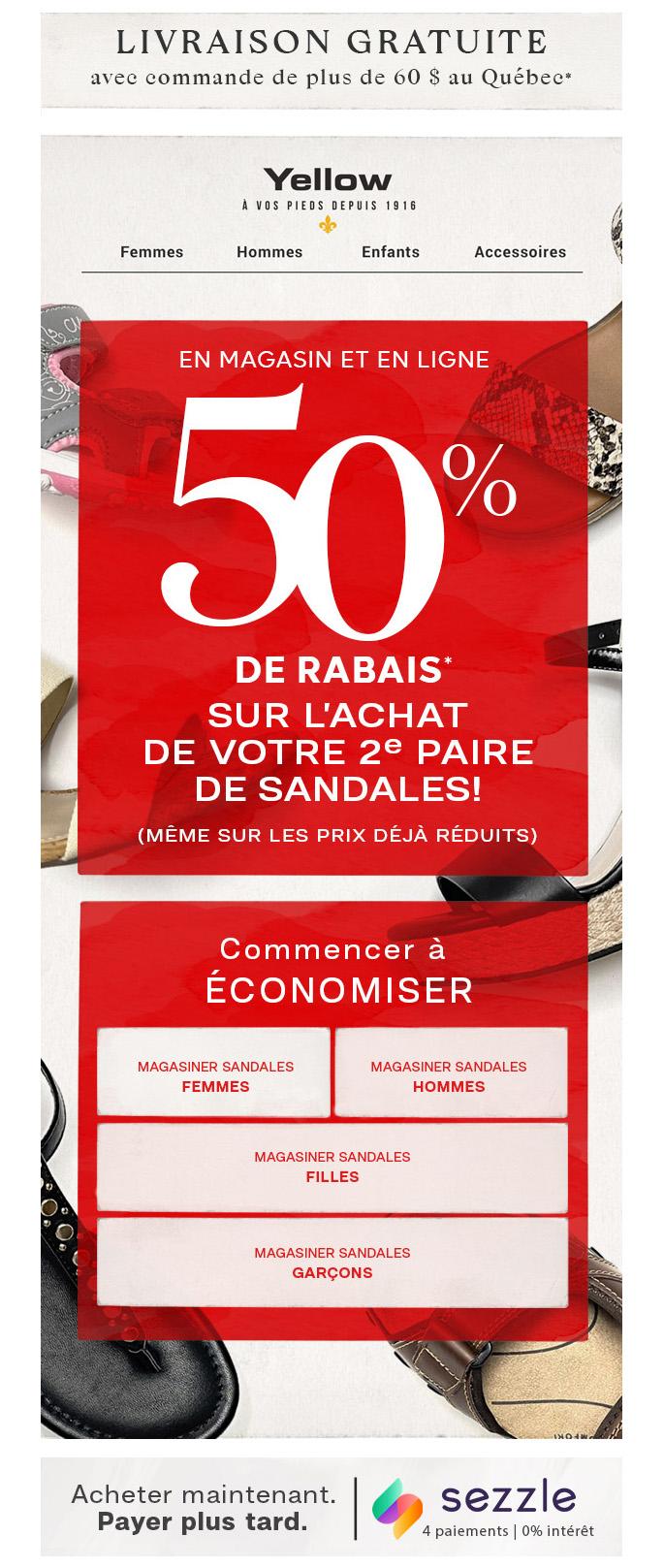 Préparez Vous Pour Les Vacances Avec 50% De Rabais Sur La 2e Paire De Sandales