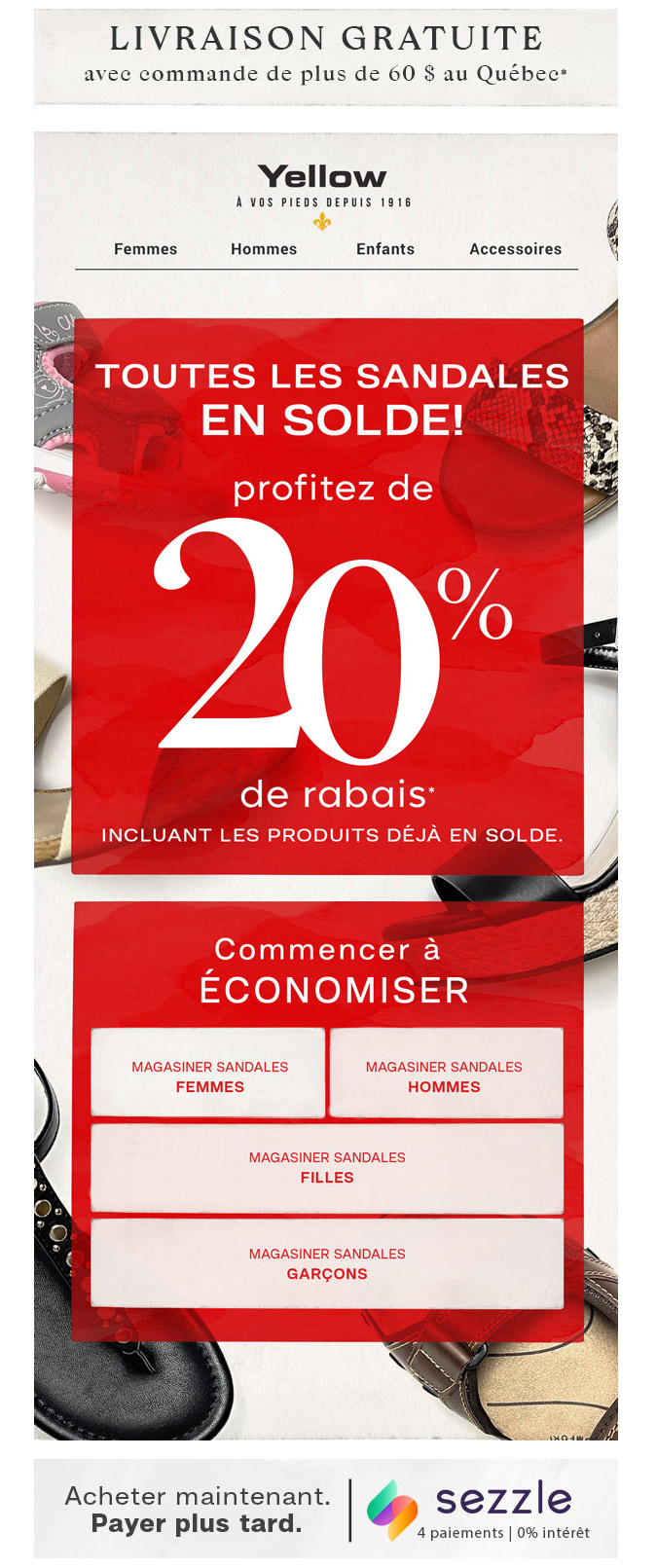 Surprise!! 20% De Rabais Sur Toutes Les Sandales!!